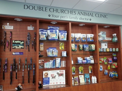 Retail area at Double Churches Animal Clinic